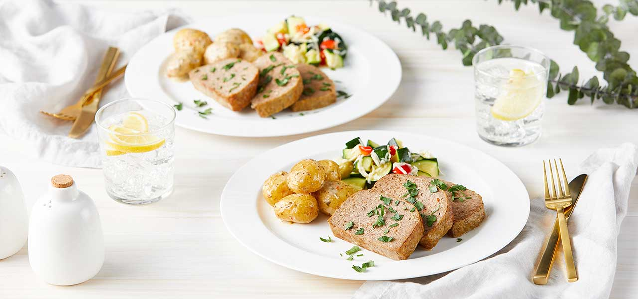 Turkey Meatloaf with Garlic Parmesan Potatoes and Zucchini Primavera