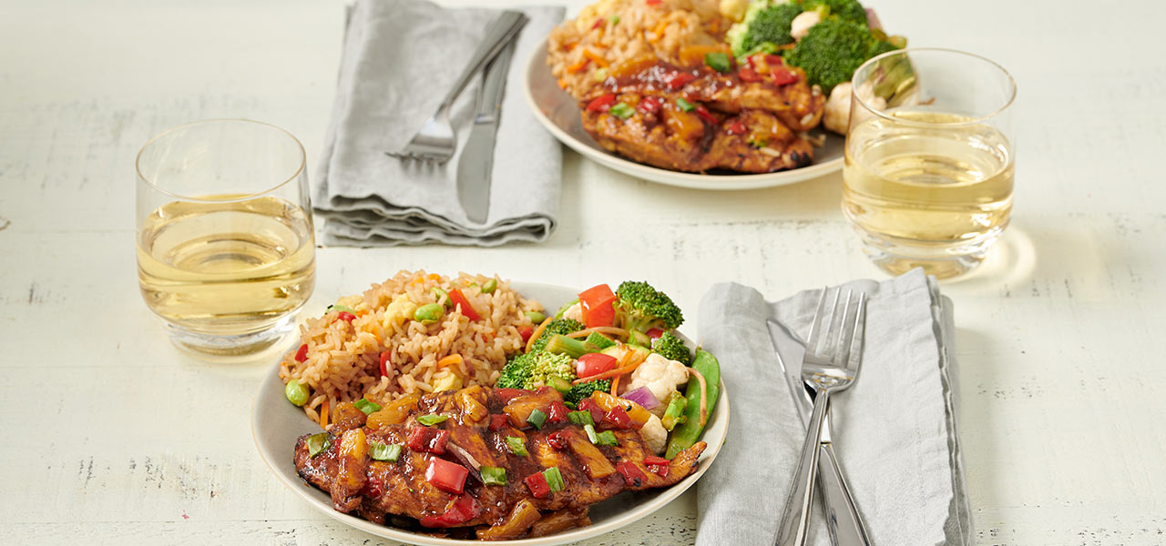 Teriyaki Chicken with Fried Rice and Vegetables